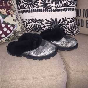 UGG Coquette Frill Metallic Shearling Slippers 8